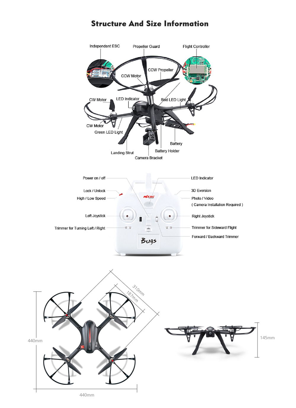 Mjx B3 Bugs 3 Rc Quadcopter Rtf 6999 Free Shipping Extreme X8 Wiring Diagram Two Way 24ghz 4ch With Action Camera