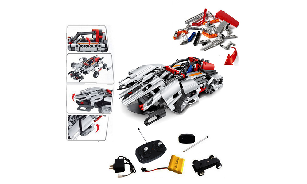 2.4G Electric Remote Control Building Blocks Sports Car Two In One Assembling Building Blocks Children DIY Educational Toys- Multi-A