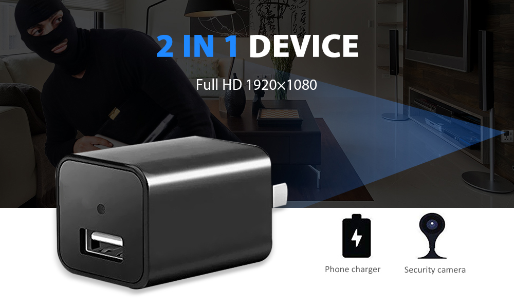M1 2-in-1 Mini Built-in 32G Memory 1080P HD USB Charger Camera Pet Security Monitor- Black EU Plug