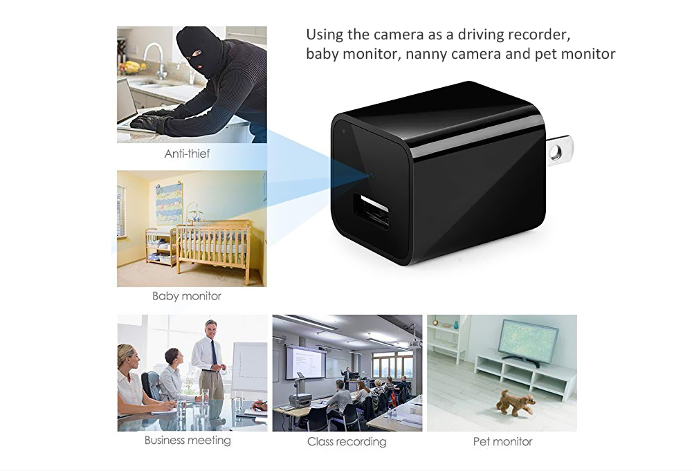 M1 Charging Head Built-in 32G Memory 1080P Camera Pet Security Monitor- Black US Plug (2-pin)
