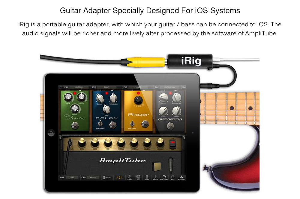 TS - GT01 AmpliTube iRig Guitar Adapter Rig Guitar Link Audio Interface  System Pedal Converter Adapter Cable Jack for iPhone / iPad / iPod