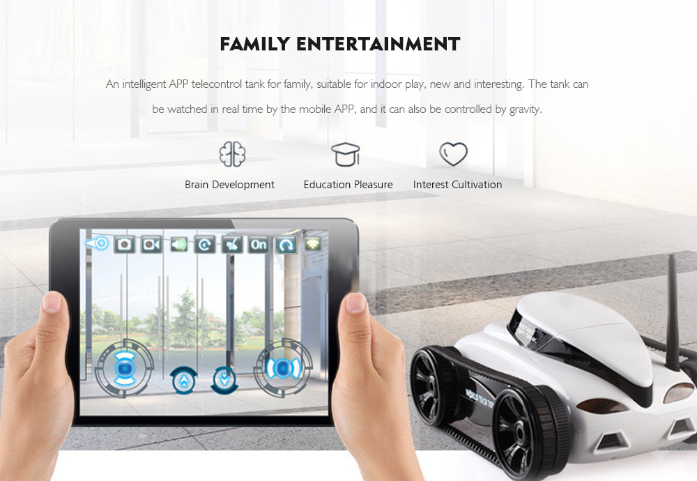 777 - 270 WiFi FPV Tank Real-time Transmission Camera Video Military Model Toy Gift- Gray