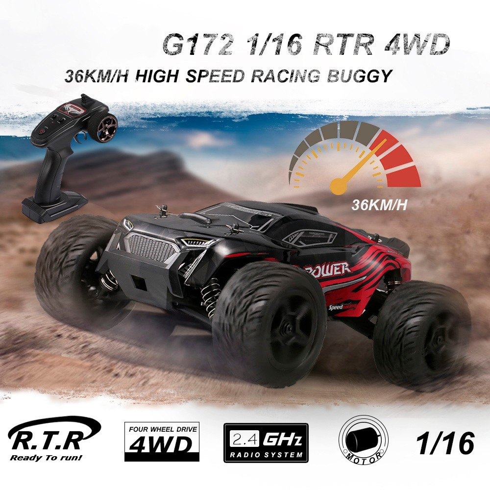 G172 1:16 2.4G 4WD 36km/h Racing RC Car Independent Suspension Absorber Off-road Crawler- Green