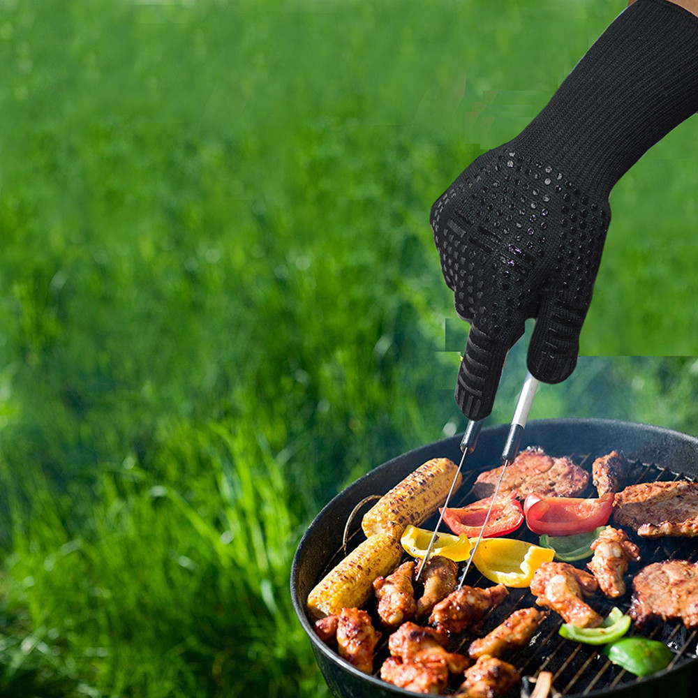 Food Grade Heat Resistant Silicone Kitchen Barbecue Oven Mitt Baking Glove- Black