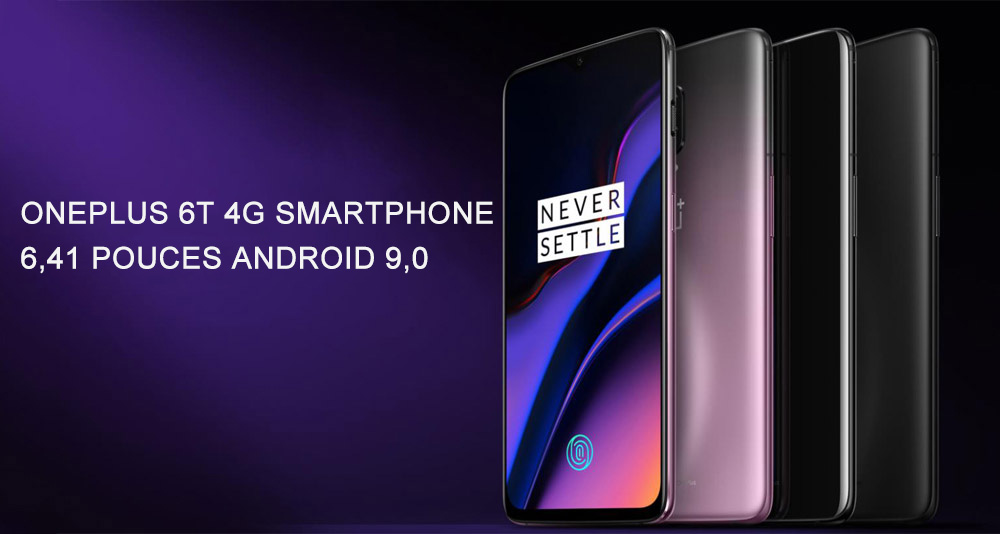 Smartphone 4G OnePlus 6T de 6,41 pouces Version Internationale - Minuit Noir