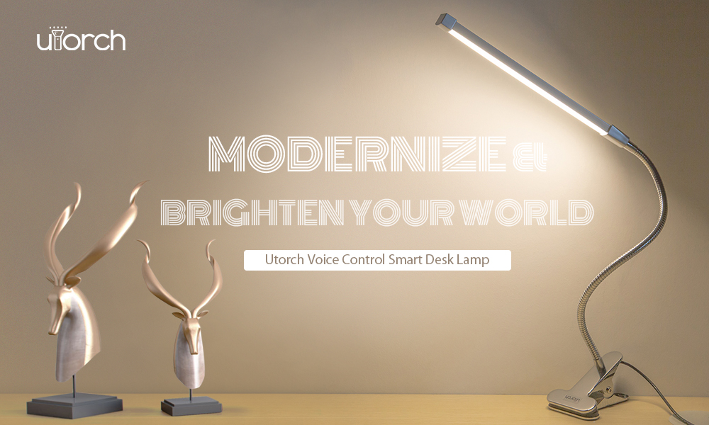 Utorch Smart Desk Lamp Home Voice Control - Silver