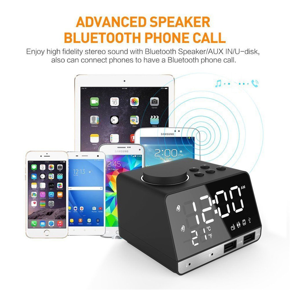 K11 Wireless Bluetooth 4 2 Speaker Alarm Clock USB Charging Support U Disk  TF Card