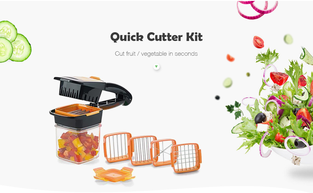 5 in 1 Dicer Fruit Vegetable Cutter Nicer Dicer Quick Stainless Steel Chopper- Orange