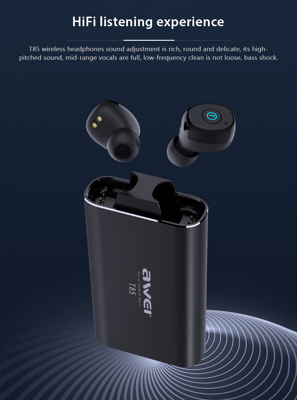 Awei T85 Binaural Wireless Bluetooth V5.0 Headset Mini TWS Earphone- Black
