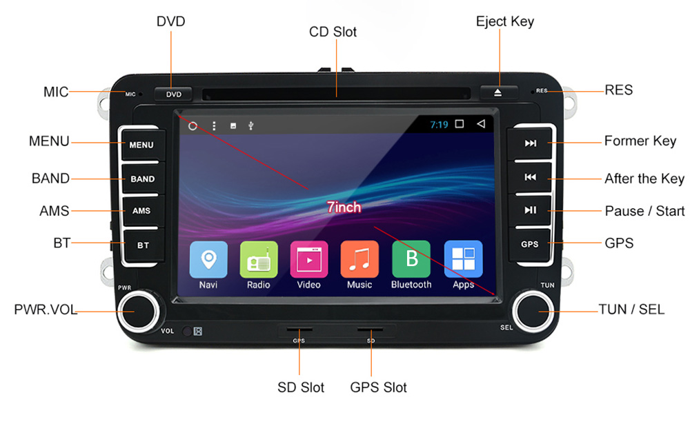 A 7 Inch 2 Din Android Car DVD Radio Player For VW