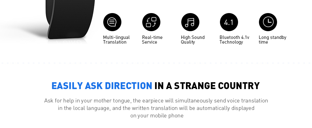 Translator Single Bluetooth Headset Wireless Headphone with Mic