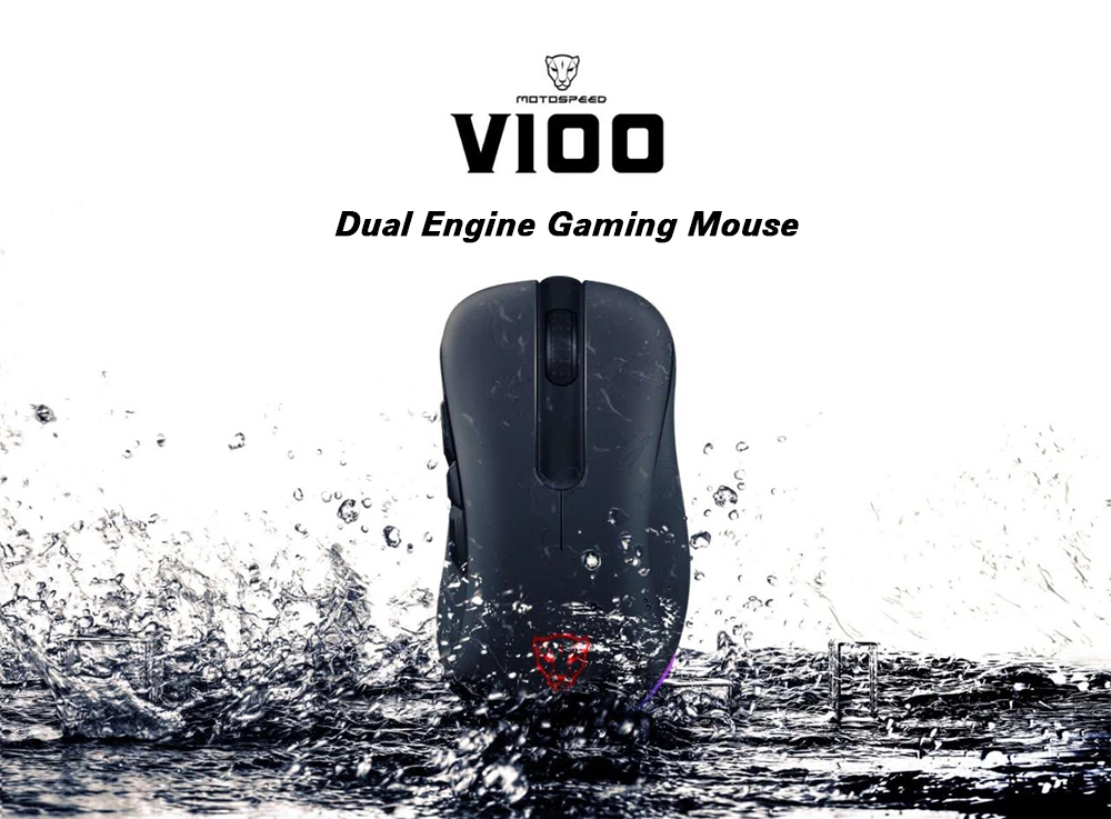 MOTOSPEED V100 Dual Engine RGB Gaming Mouse Original PAW3327 Infrared Light- Black