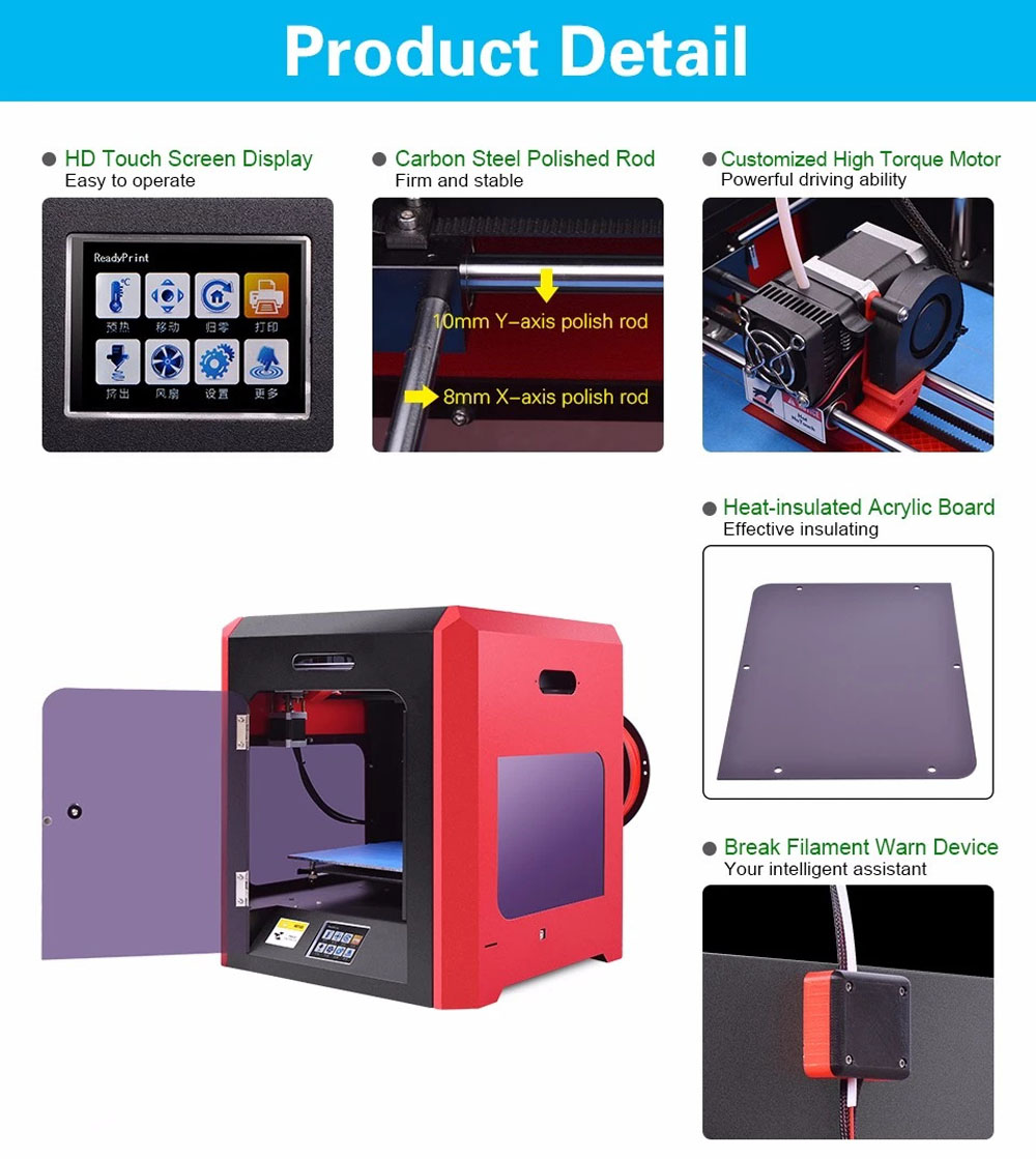 Mostly Filament Workable Stability And Speed Fdm 3d Printer For Sale Stable Supply Rosso Red