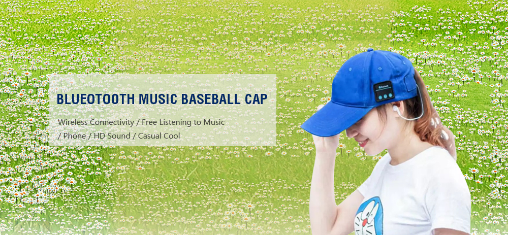 Wireless Bluetooth Hat Outdoor Sports Caps Headphones Call Music Sun Cap- Gray