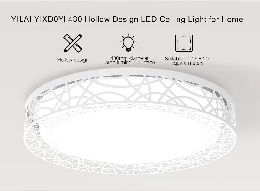 Yeelight YILAI YIXD0Yl 430 Hollow Design LED Smart Ceiling Light for Home- White