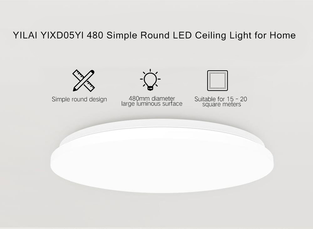Yeelight YILAI YlXD05Yl 480 Simple Round LED Smart Plafonnier for Home White