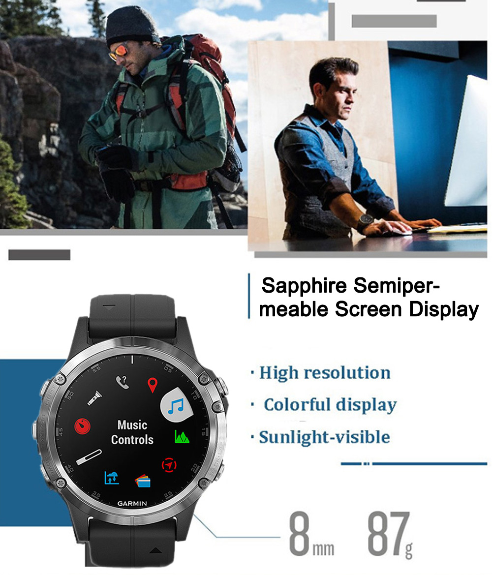 GARMIN Fenix 5 Plus 1 22 inch Bluetooth 4 0 Sapphire Mirror Sports Smart  Watch English Version