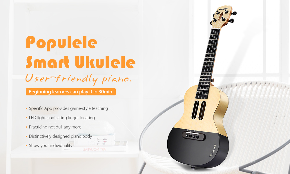 Xiaomi Populele 23 inch APP LED Bluetooth USB Smart Ukulele Gift for Beginners 1pc - Cream normal type