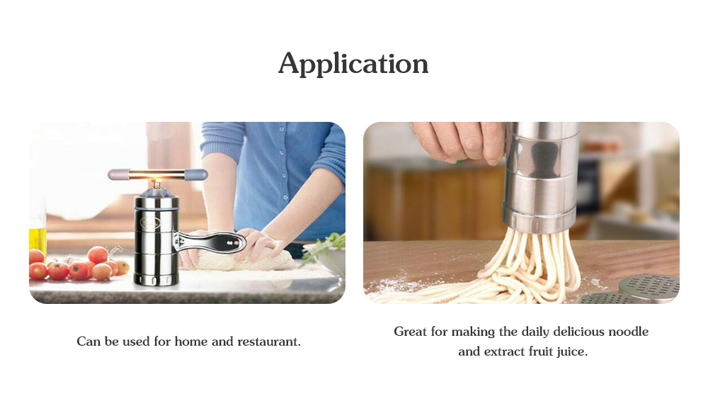 Practical 5 Models Stainless Steel Manual Noodle Press Machine Spaghetti Maker Set- Silver