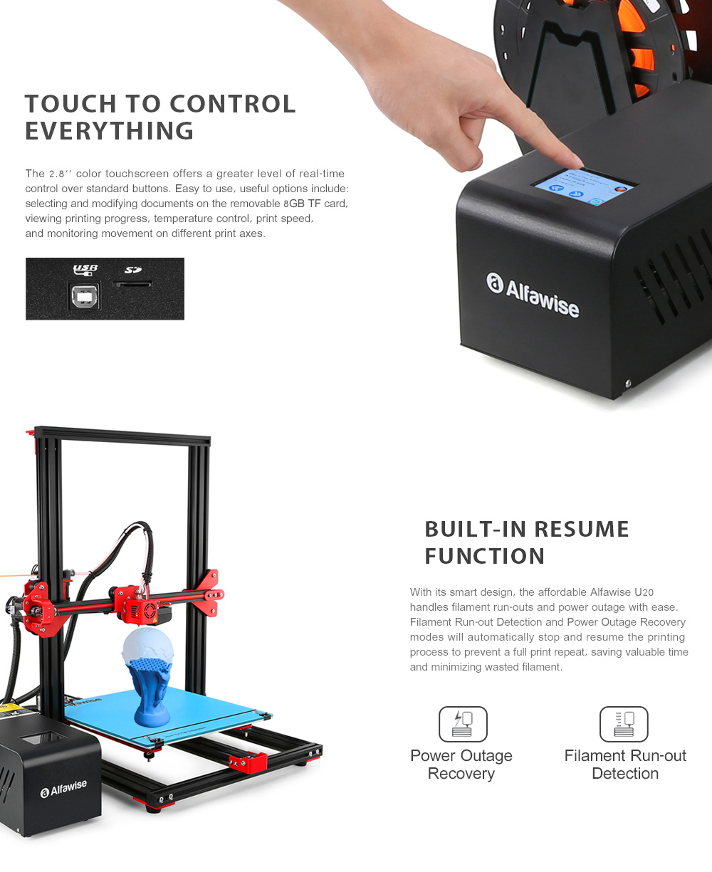 Alfawise U20 Large Scale 2.8 inch Touch Screen Aluminium Alloy DIY 3D Printer- Black US Plug