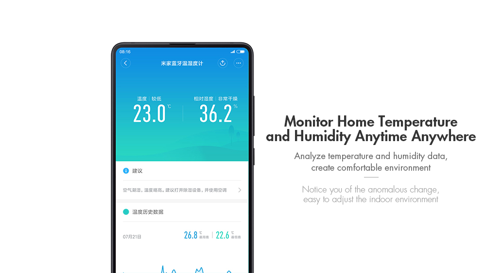 Xiaomi Smart Thermostat Accuracy Indoor Temperature and Humidity Monitor- White