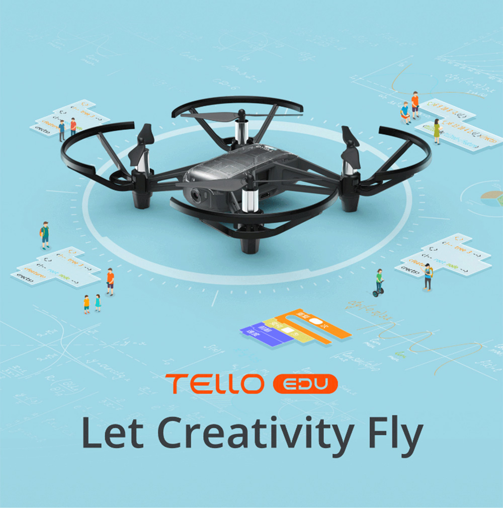 DJI Ryze Tello EDU HD 5MP WiFi FPV RC Drone - RTF 13mins Flight Program Learning Mission Pad Flight Quadcopter- Black