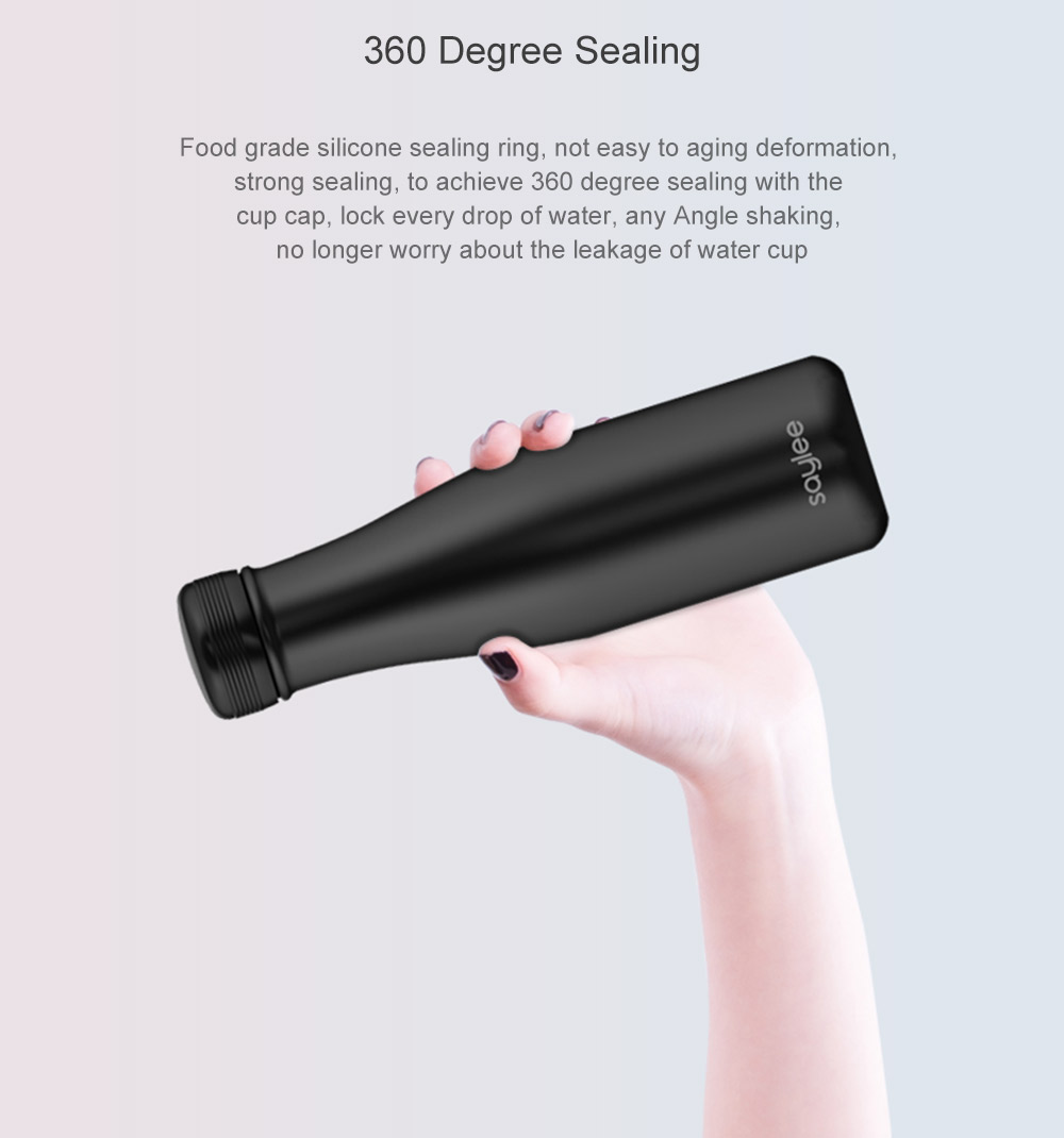 Saylee S1 Portable Triple Temperature Real-time Monitoring Intelligent Vacuum Flask- Black 400ML