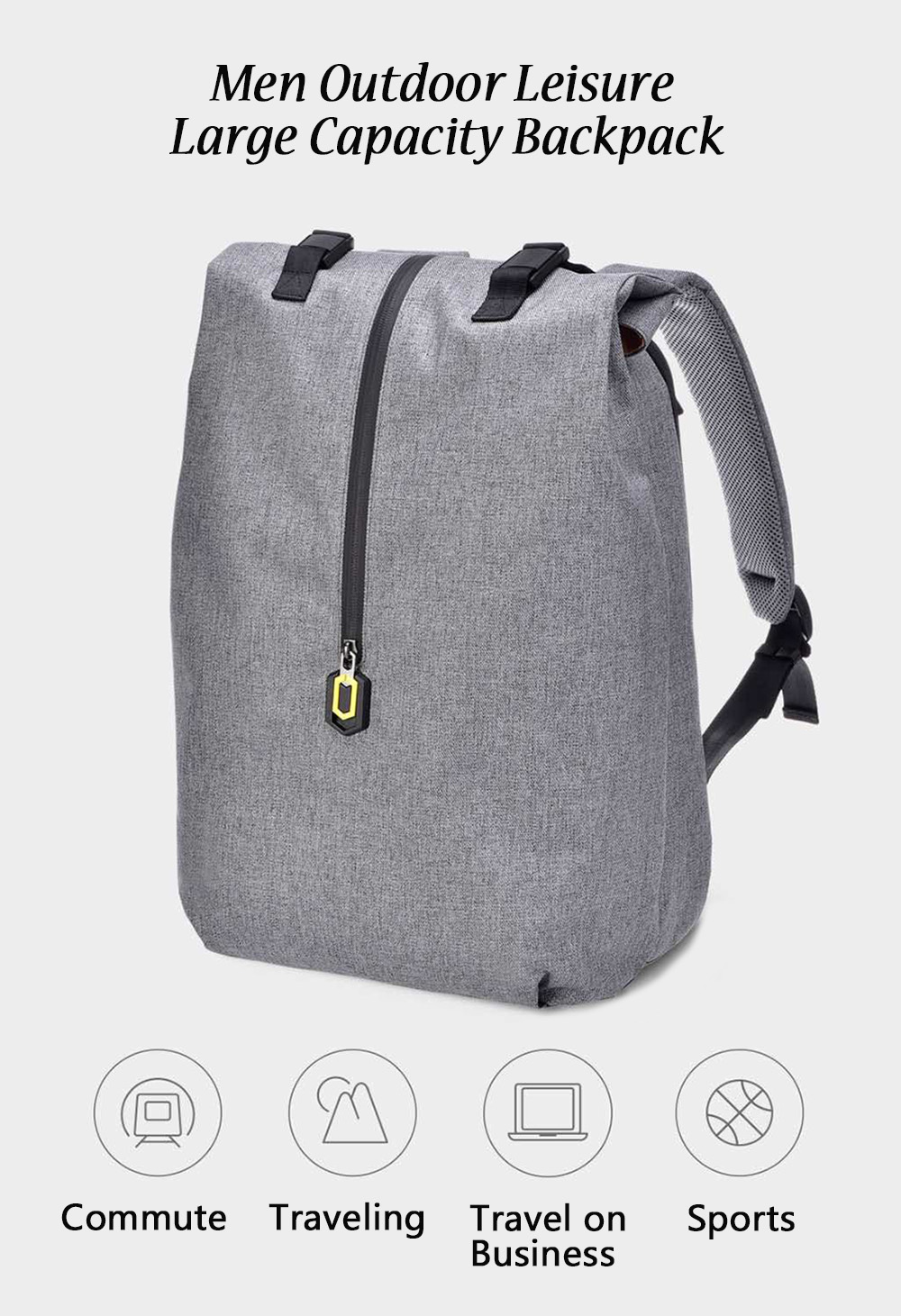 Men Outdoor Leisure Large Capacity Backpack from Xiaomi Youpin- Ocean Blue