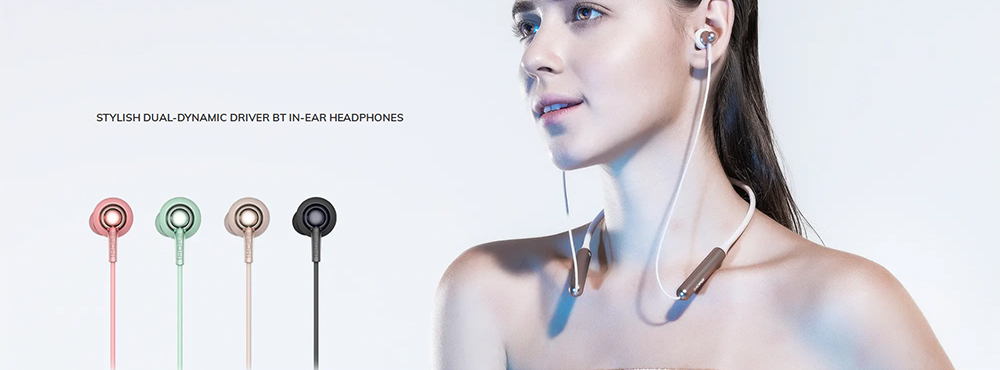 1 MORE Stylish E1024BT Dual Dynamic Drivers Neckband Bluetooth Earphone In-ear Stereo Eabuds with Mic - Black