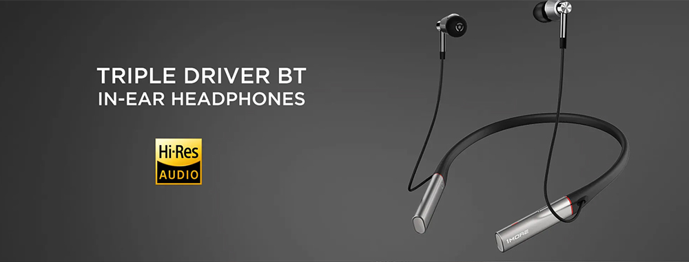 1MORE E1001BT Triple Drivers Bluetooth In-ear Earphones Stereo Eabuds with Noise Reduction Mic - Platinum