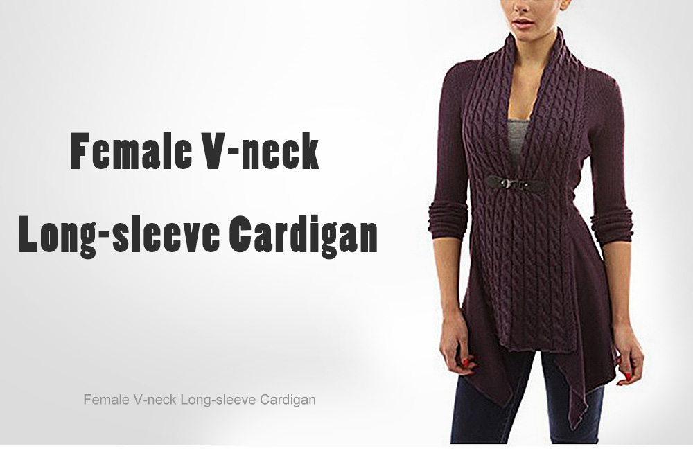 Women's Europe and American Strap V-neck Long-sleeved Shirt Twist Cardigan - Apricot M