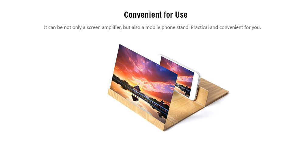 12 inch Mobile Phone Screen Amplifier HD Radiation Protection Wood Grain Magnifying Glass- Wood