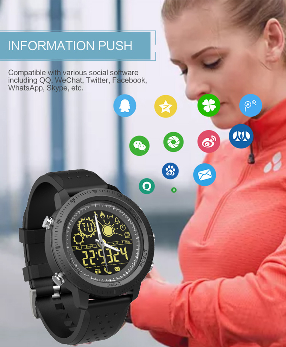 NX02 Smart Watch 5ATM Waterproof Bluetooth Heart Rate Monitor Sports Bracelet- Blue
