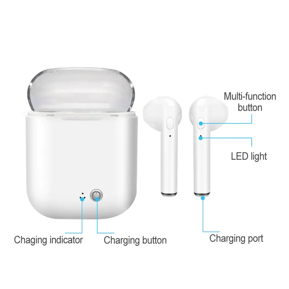 Smart Wireless Bluetooth Earbuds Smart Earphone with Charging Dock- White