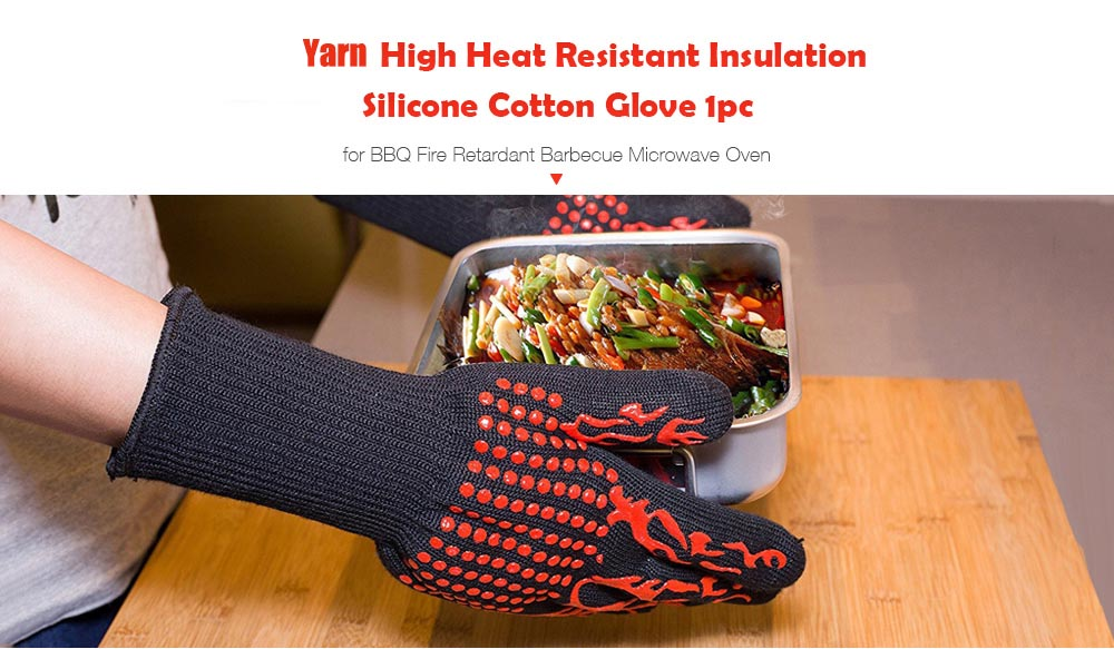 Yarn High Heat Resistant Insulation Silicone Cotton Glove for BBQ Fire Retardant Barbecue Microwave Oven 1pc- Red