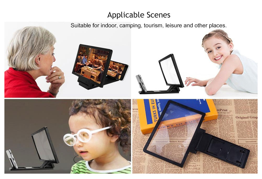 Mobile Phone Screen Magnifier Eyes Protection Display 3D Video Screen Amplifier- Black