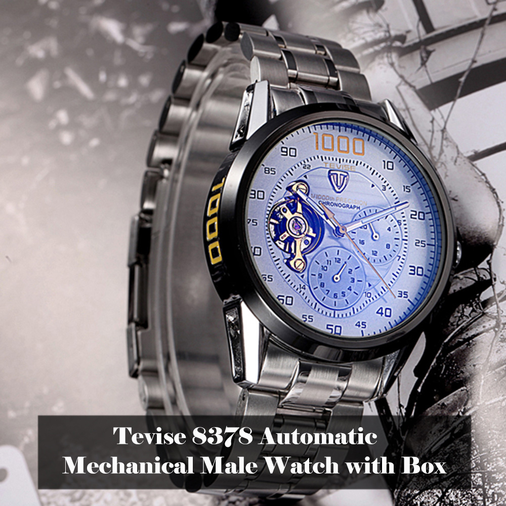 Tevise 8378 Men Analog Tourbillon Automatic Mechanical Watch Working Sub-dials Stainless Steel Body with