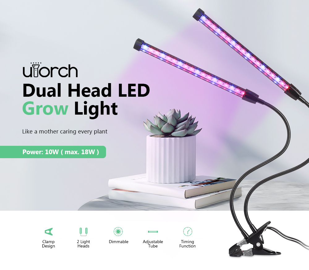 Utorch Double Head LED Red Blue Grow Light for Plants- Black without Battery Holder