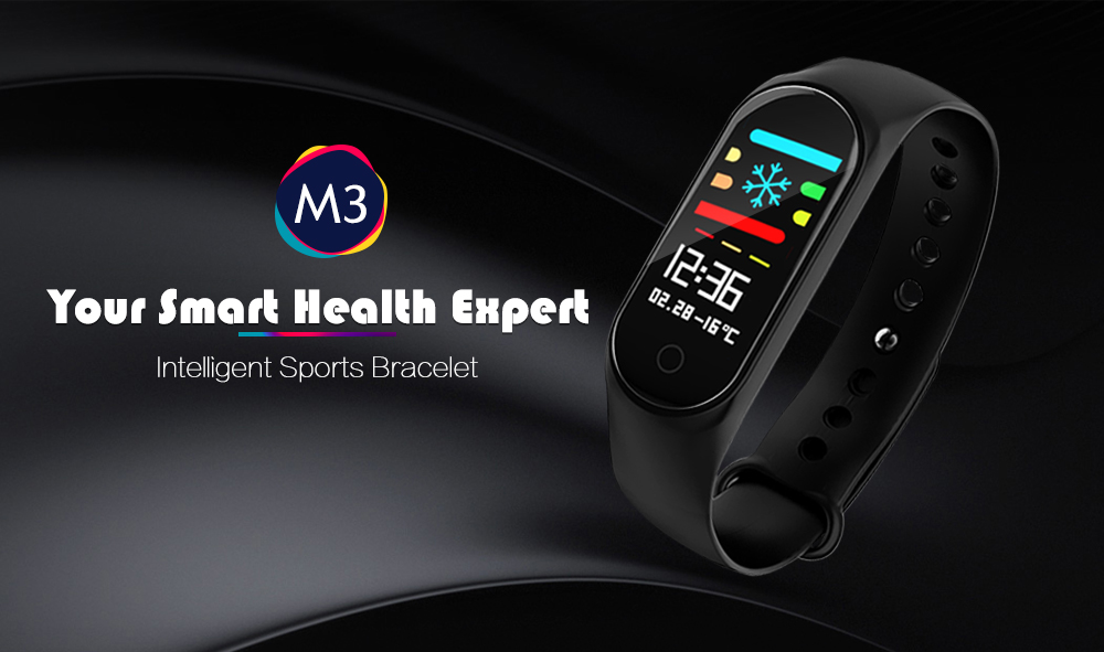 M3 0.96 inch Sports Smart Bracelet Bluetooth 4.0 IP67 Waterproof Call / Message Reminder Heart Rate Monitor Blood Pressure Functions- Black