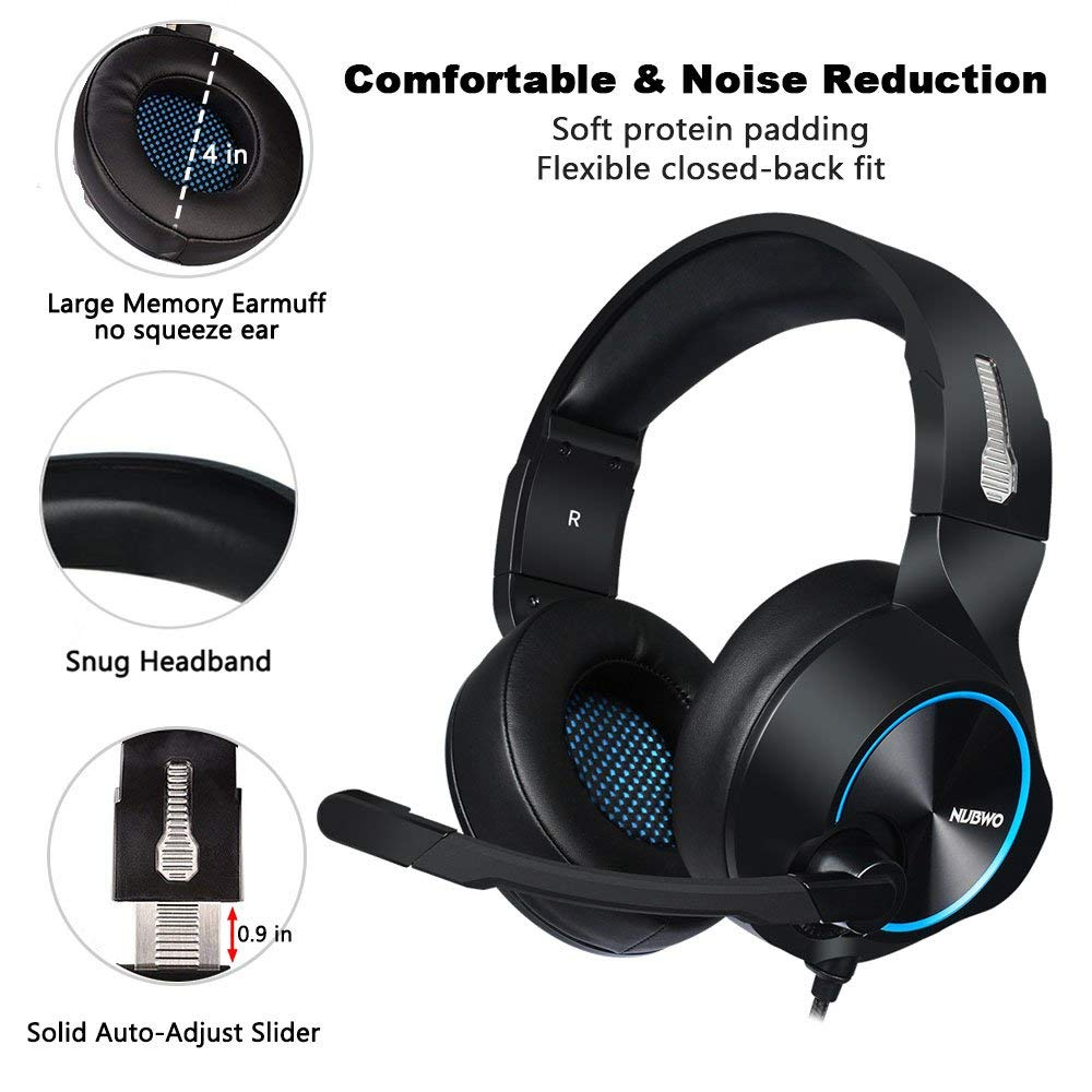 NUBWO N11D Headband Game Headset with Noise reduction Mic 3.5mm Interface Wire Control Over-ear Headphone  - Blue Regular