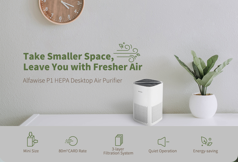 Alfawise P1 HEPA Desktop Air Purifier- White Air purifier