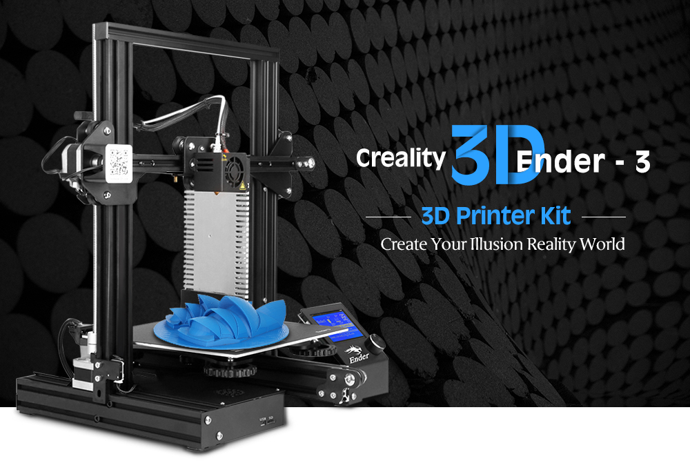 Creality3D Ender - 3 V-slot Prusa I3 DIY 3D Printer Kit 220 x 220 x 250mm with MK8 Extruder 1.75mm 0.4mm Nozzle- Night EU Plug