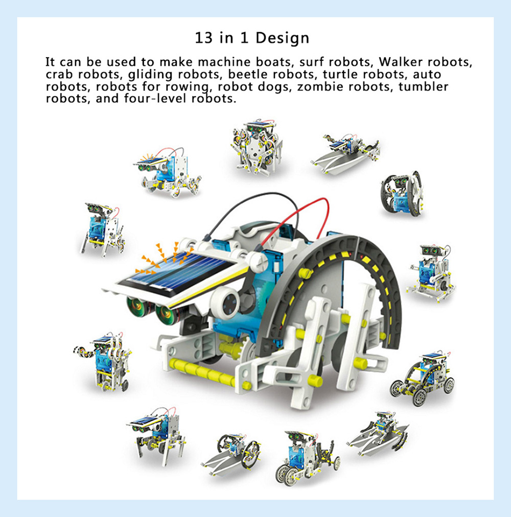 13 in 1 DIY Assembled Solar Robot Toys for Kids- White