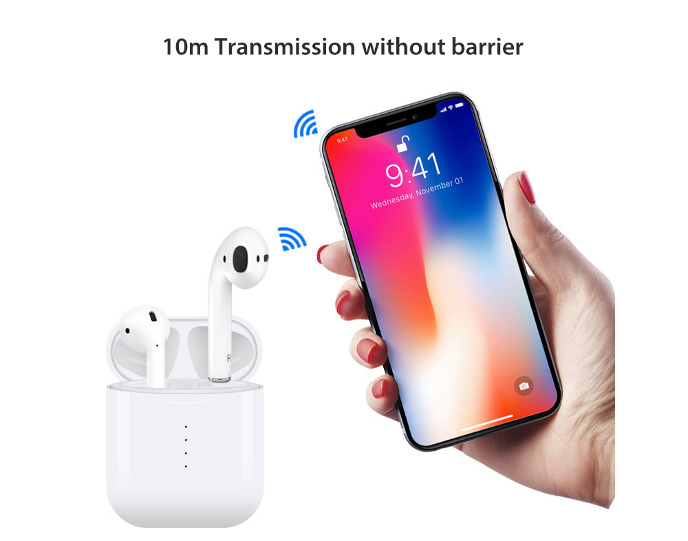 i10 TWS Mini Bluetooth Binaural Earbuds Stereo In-ear Touch Control Earphone with Mic and Charging Dock- White