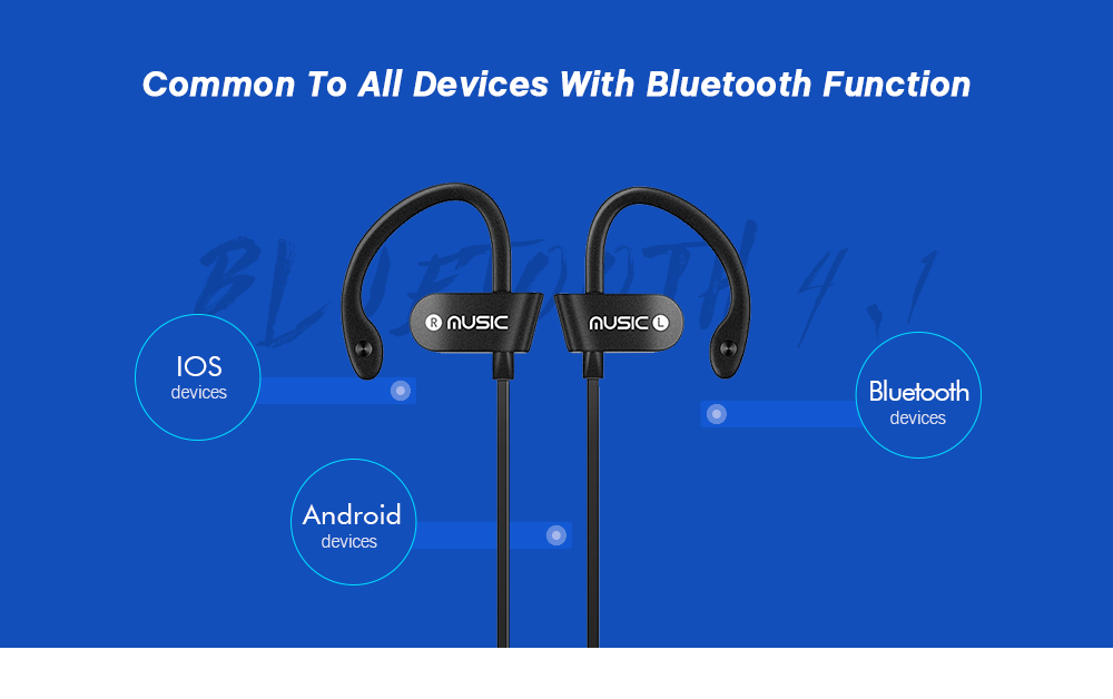 L4 Super-aural Bluetooth Earphone Wireless Earbuds for Sports with Mic- Black