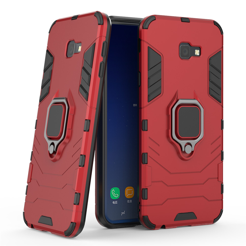 Ring Buckle Kickstand Armour Case for Samsung J4 Plus- Cherry Red