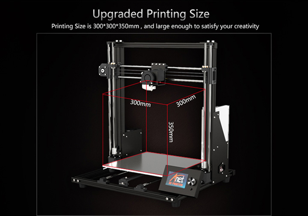 Anet A8 Plus Aluminum Frame 3D Printer - Black EU Plug