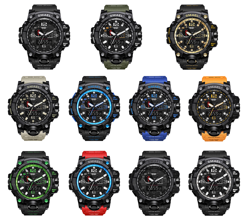 SMAEL 1545 Fashion Sports Multi-function Couple Popular Men Waterproof Electronic Watch With Box- Gold