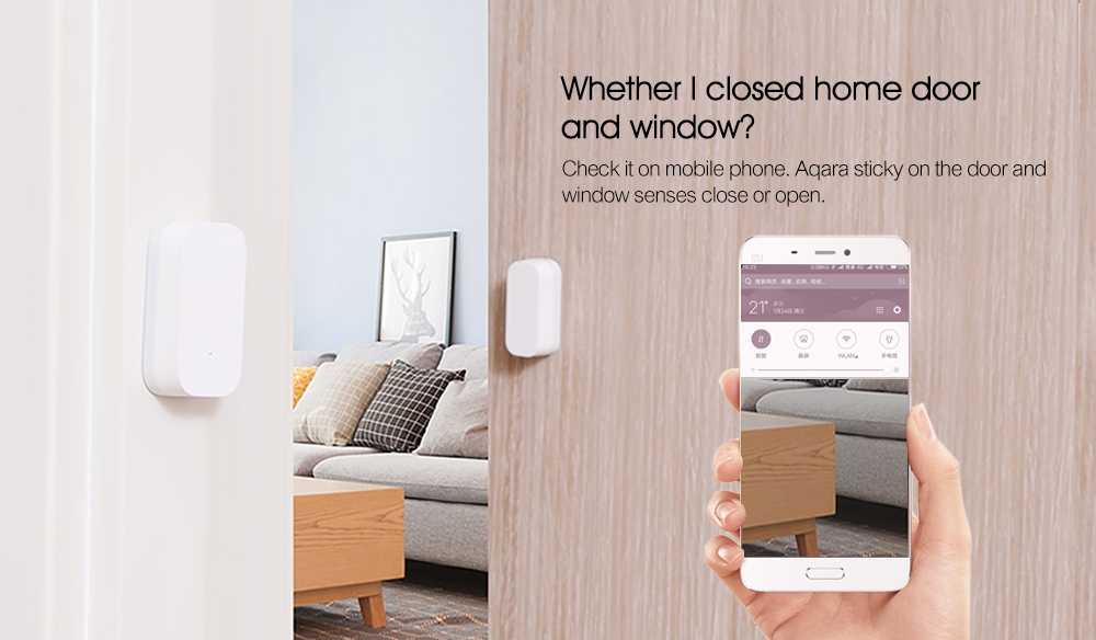 Aqara Smart Window Door Sensor Intelligent Home Security Equipment with ZigBee Wireless Connection- Milk white