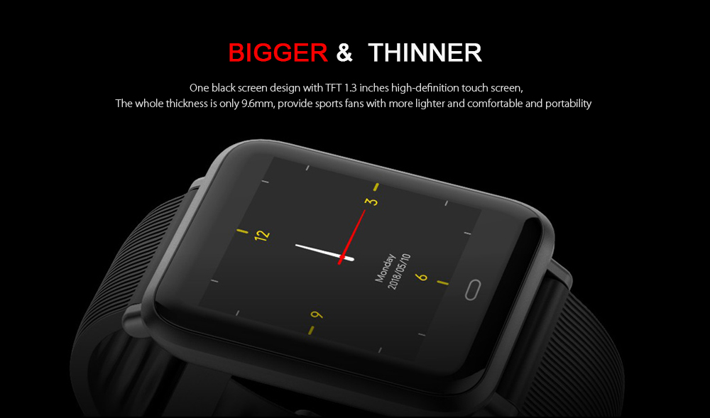 Q9 Colorful Screen Waterproof Sports Smart Watch for Android / iOS with Heart Rate Monitor Blood Pressure Functions- Black
